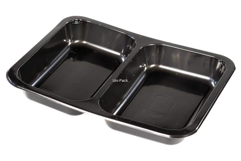 5 HIT CENOWY! Pojemnik obiadowy 2-dzielny czarny PP 227x178x30 mm