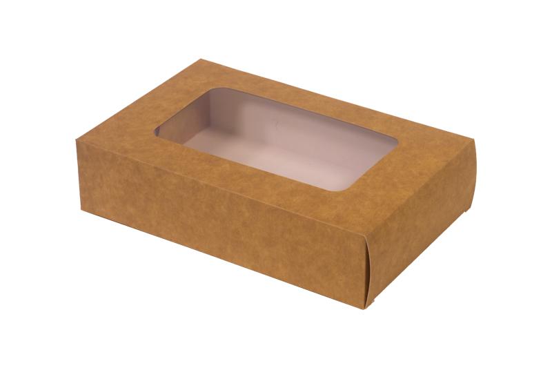 ! – NOWOŚĆ – Pudełko papierowe eco/kraft 'szuflada' z okienkiem 21x13,5x5cm do sushi i nie tylko