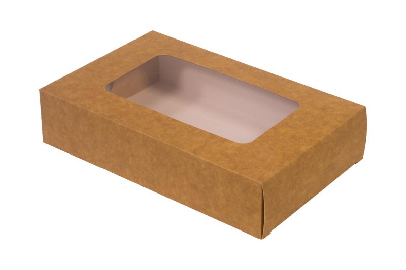 ! – NOWOŚĆ – Pudełko papierowe laminowane eco/kraft 'szuflada' z okienkiem 23x14,5x5cm do sushi i nie tylko