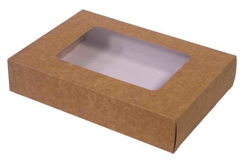 ! - NOWOŚĆ - Pudełko papierowe laminowane eco/kraft 'szuflada' z okienkiem 26x19x5cm do sushi i nie tylko