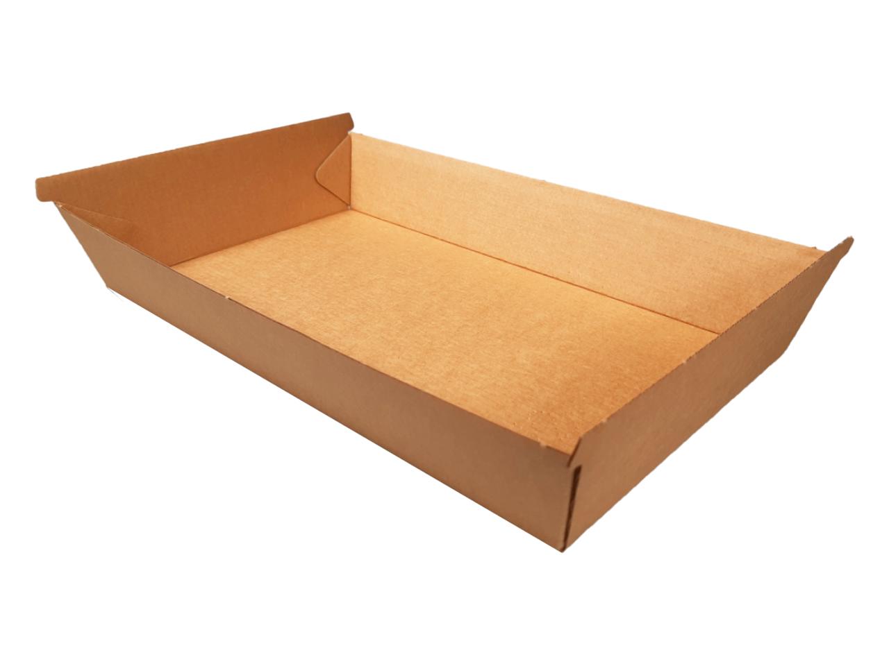 ! Pudełko cateringowe XXL, tacka dół - brązowe 290/310x170/195 wys. 50 mm