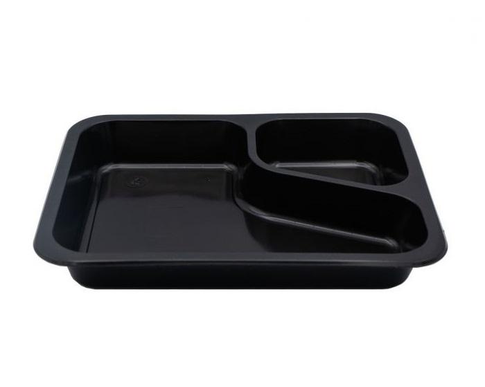 5 HIT CENOWY! Pojemnik obiadowy 2-dzielny COLT czarny PP 227x178x30 mm